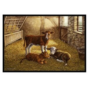 Cows Calves in the Barn Doormat