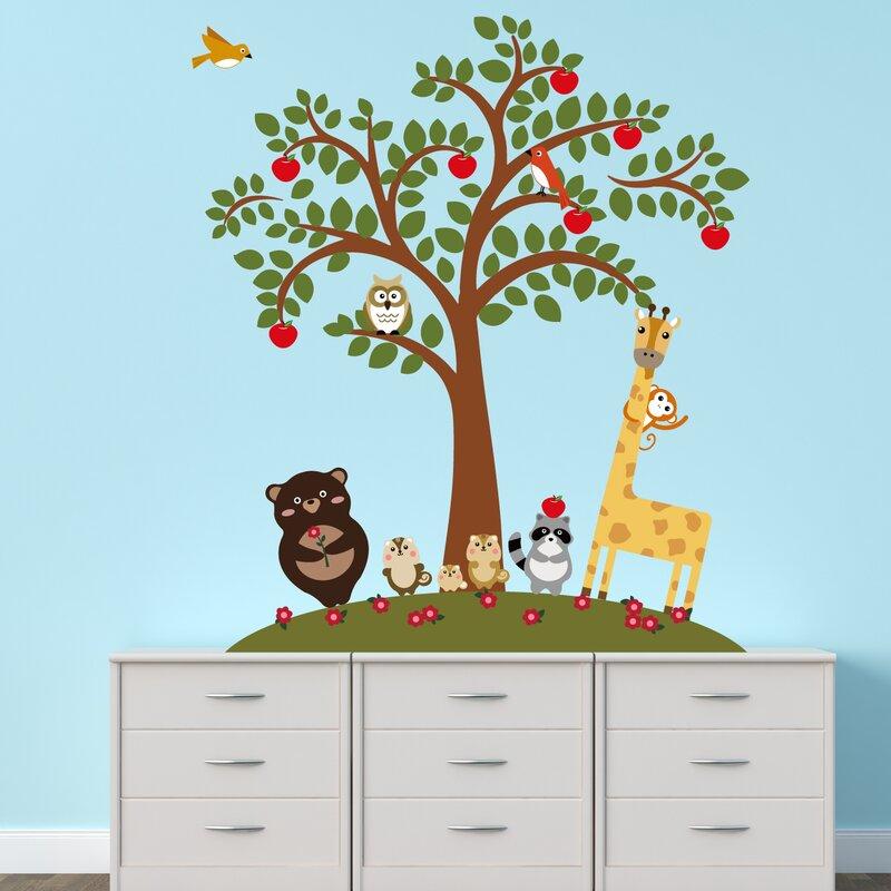 walplus animal friends and apple tree wall decal   wayfair