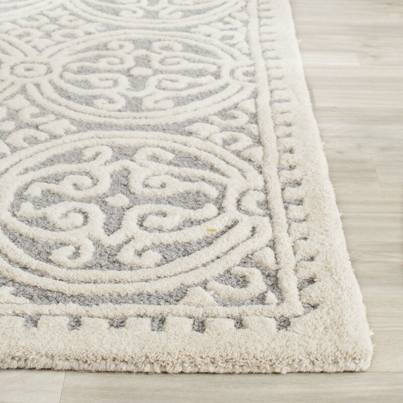 Rug Runner Bars: Cathay Silver & Ivory Wool Hand-Tufted Area Rug & Reviews
