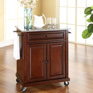 Detweiler Solid Granite Top Portable Kitchen Cart/Island by Darby Home Co