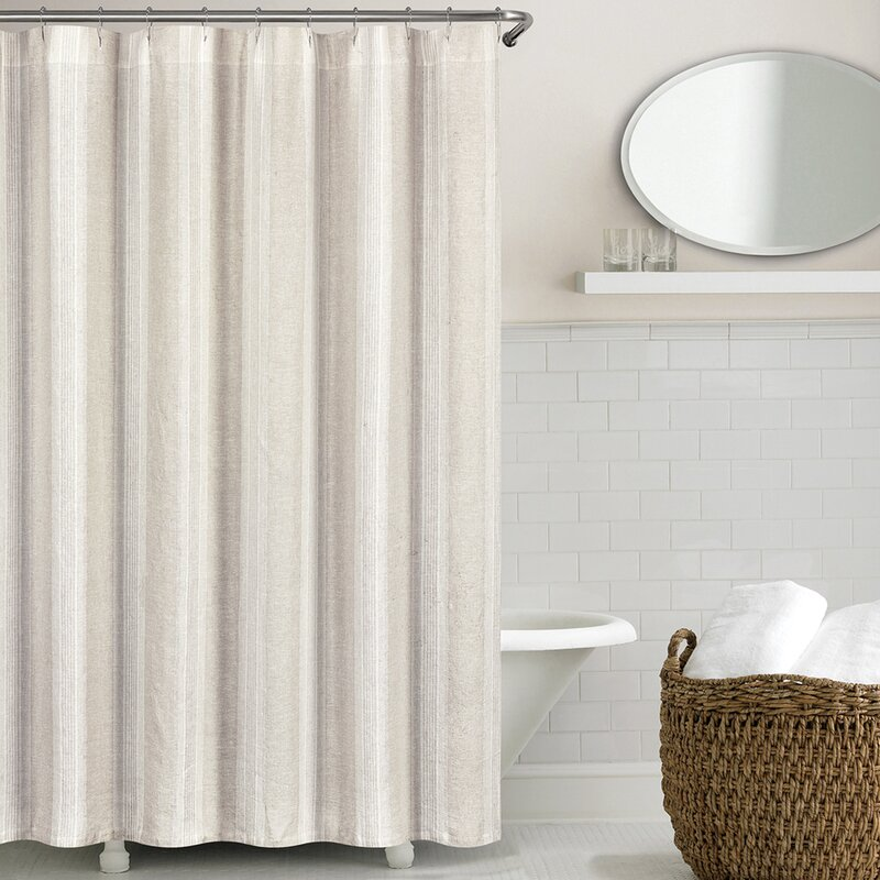 grey linen shower curtain. Stripe Washed Belgian Linen Shower Curtain Modern Curtains  AllModern