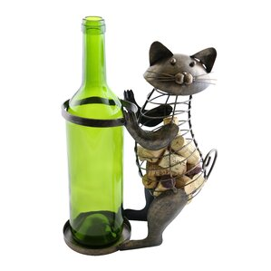 Machelle Metal Cat Cork 1 Bottle Tabletop Wine Rack by Red Barrel Studio