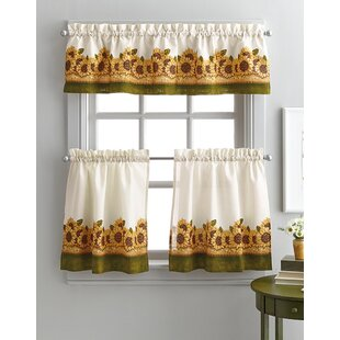 pierceton sunflower graden 3 piece kitchen curtains - Kitchen Curtain