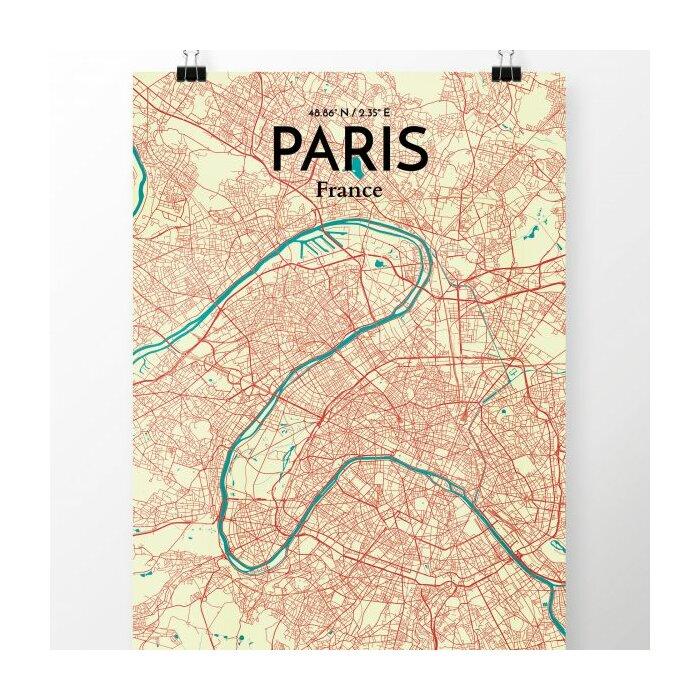 \'Paris City Map\' Graphic Art Print Poster in Tricolor