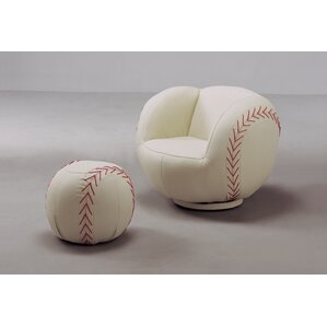 Baseball Kids Faux Leather Chair And Ottoman