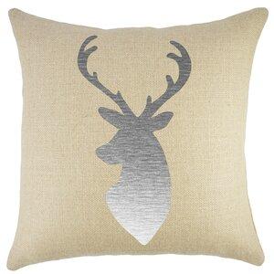 Deer Burlap Throw Pillow