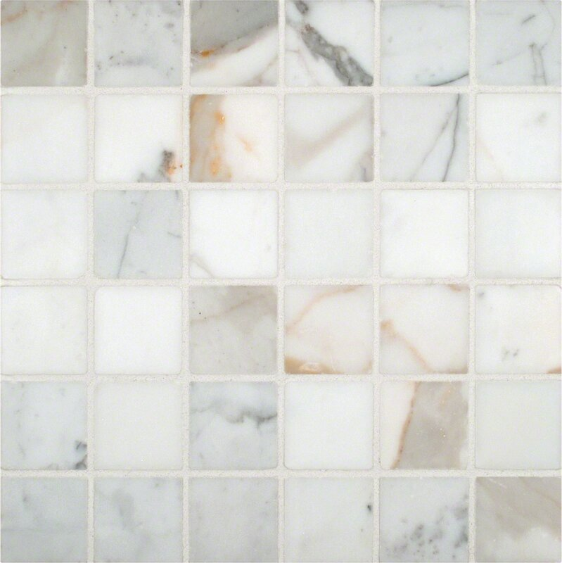MSI Calacatta Gold Mounted 2 x 2 Marble Mosaic Tile in White