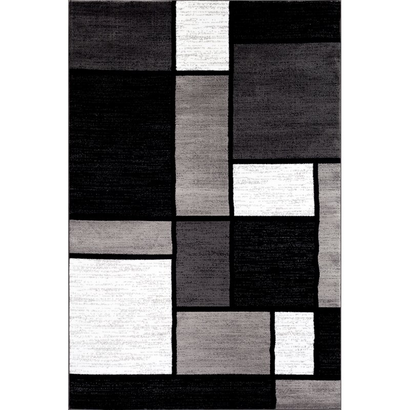 Lorenzo Machine Woven Grayblackwhite Area Rug Reviews Allmodern