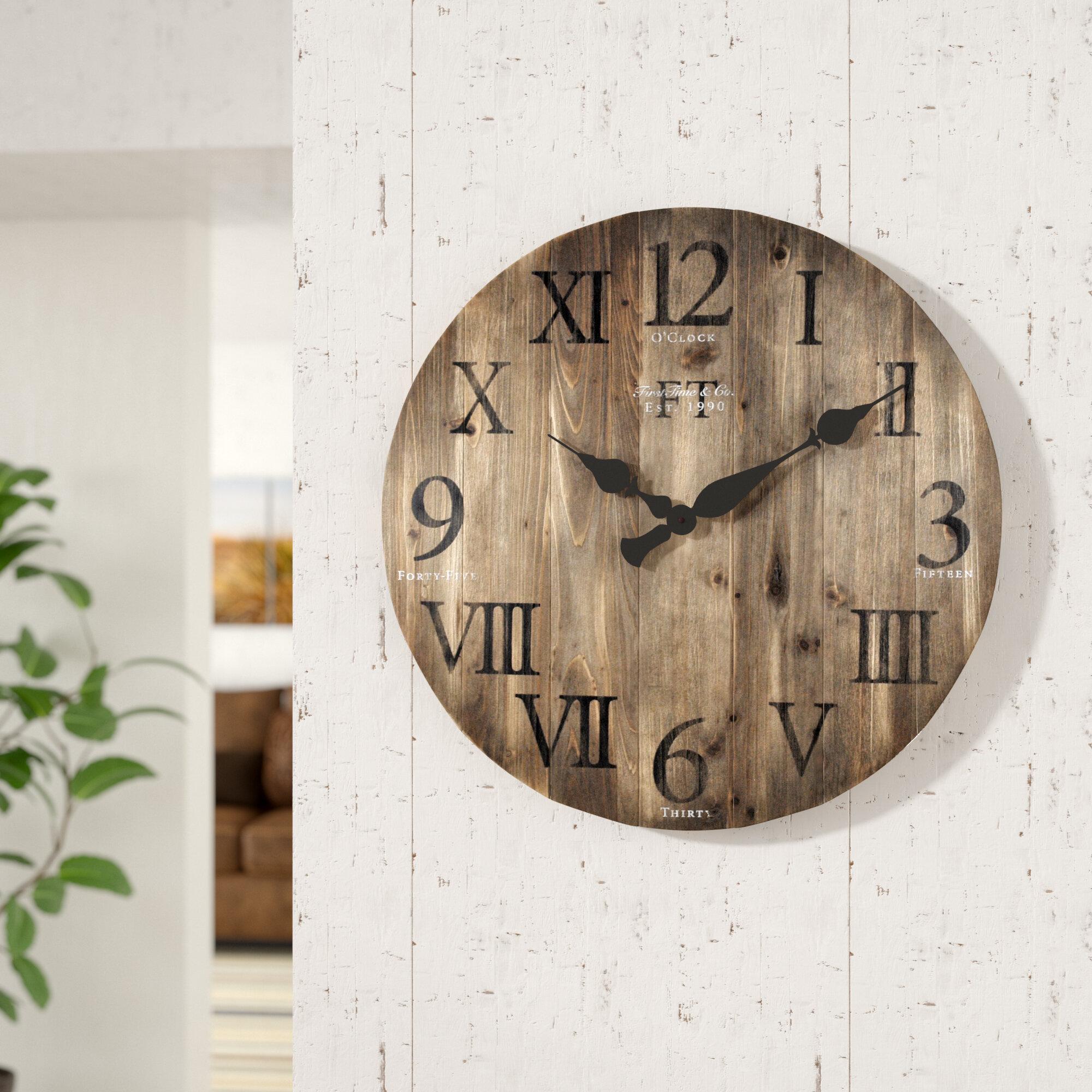 Loon Peak Crosby Oversized Barnwood 24 Wall Clock Reviews Wayfair