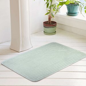Ariana Textured Memory Foam Anti-Fatigue Bath Rug with Woven Stripe