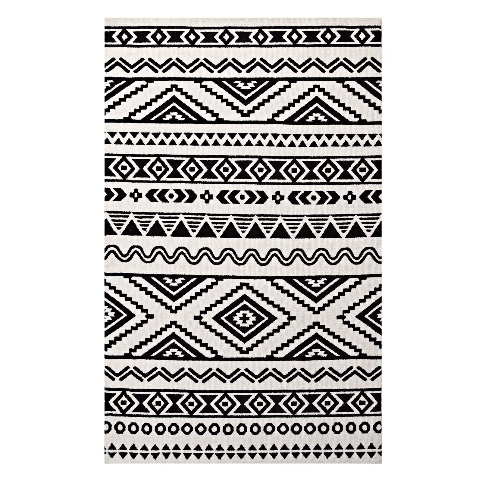 Ivy bronx freedman geometric moroccan tribal black white area rug reviews wayfair