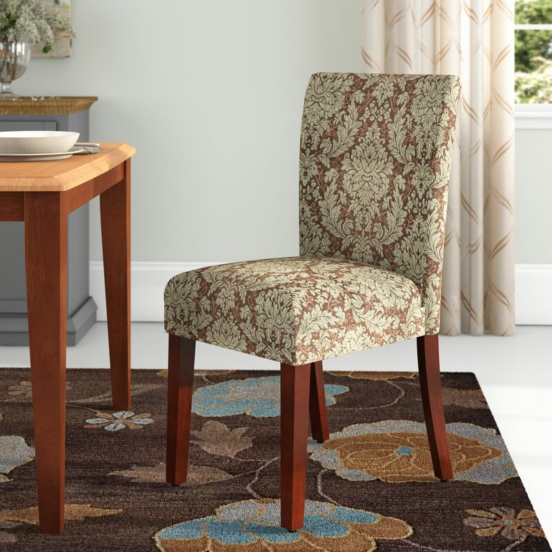 Thorsen Upholstered Damask Parsons Chair & Charlton Home Thorsen Upholstered Damask Parsons Chair u0026 Reviews ...