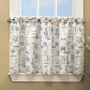 By The Sea Printed Ocean Beach Kitchen Tier Curtain Set Of 2