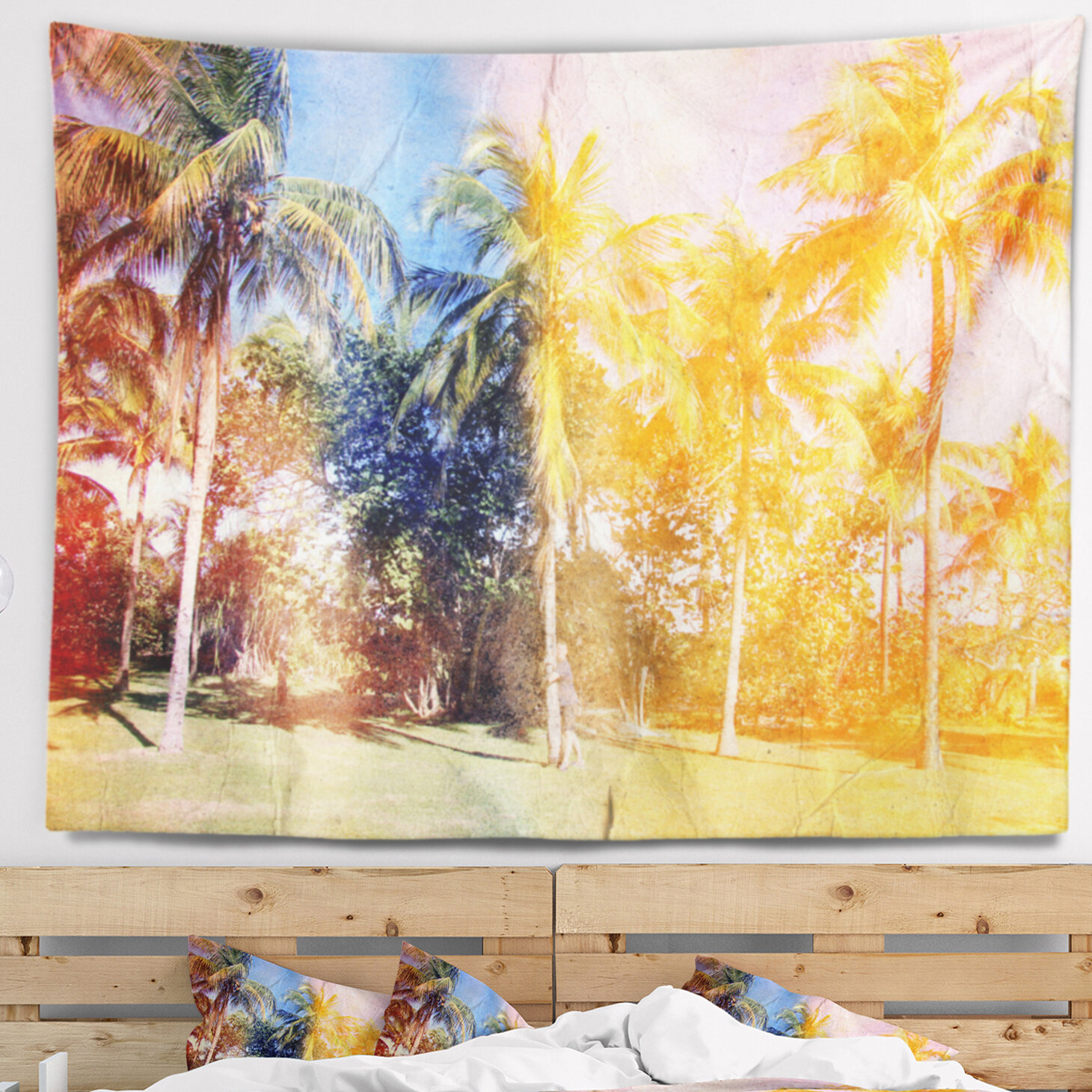 East Urban Home Landscape Retro Palms in Yellow Shade Tapestry and ...