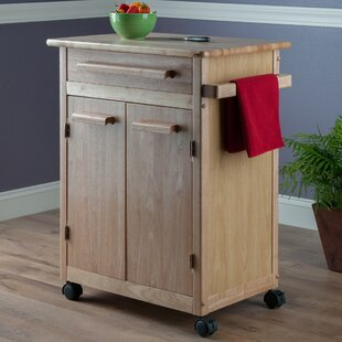 Javier Kitchen Cart with Wooden Top