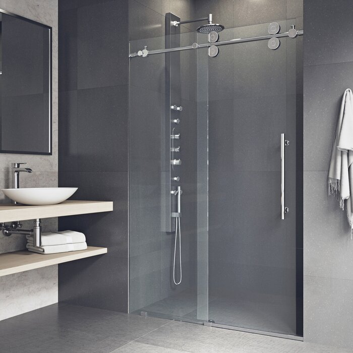 inch frameless clear en shower door p glass brushed and nickel vigo home
