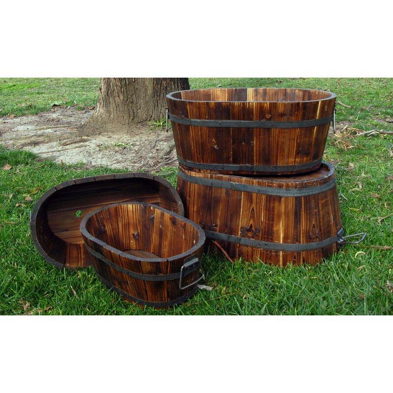 Shine Company Inc 4 Piece Wood Barrel Planter Set Reviews Wayfair