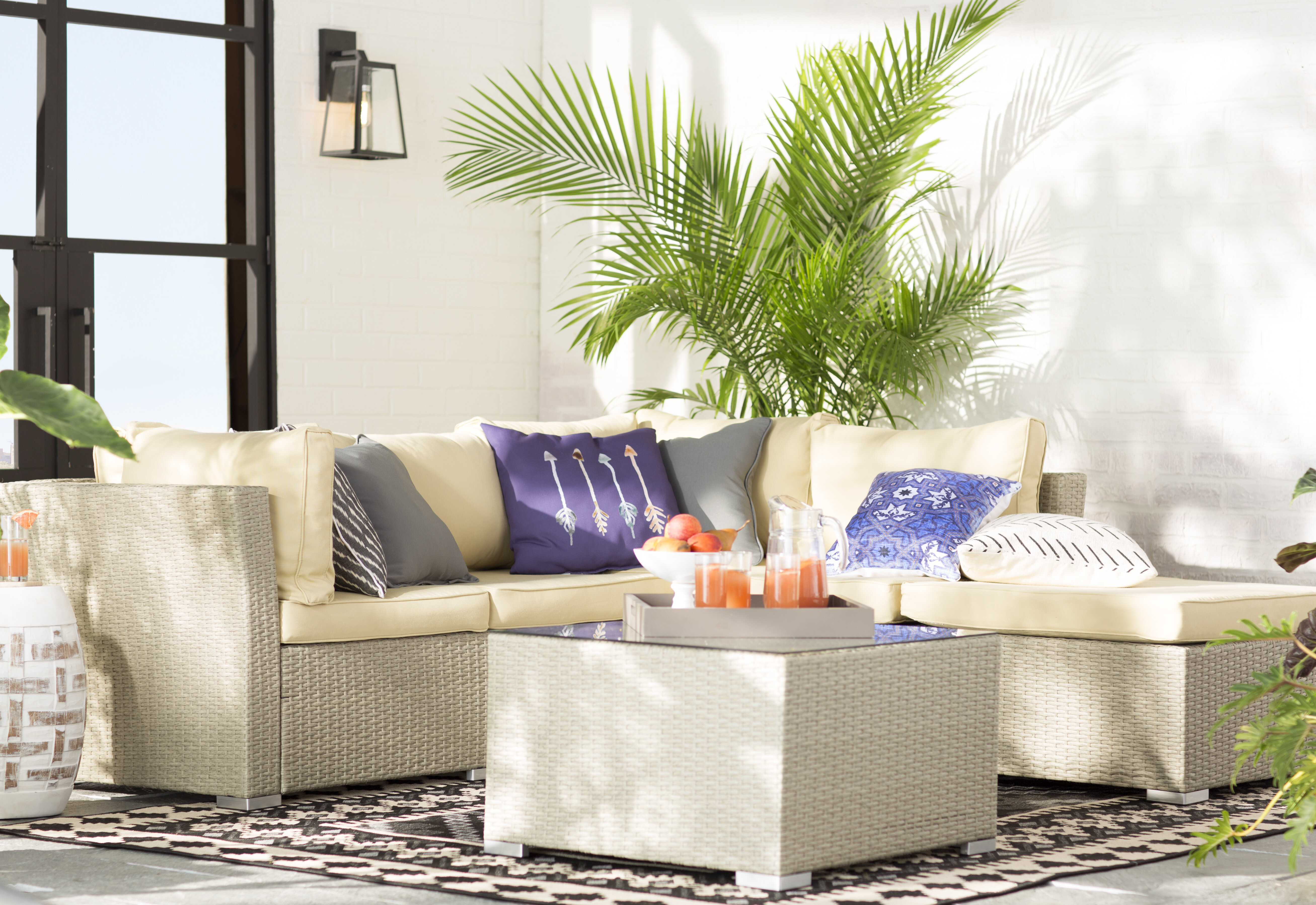 Three Posts Morrissey 5 Piece Rattan Sectional Seating Group with ...