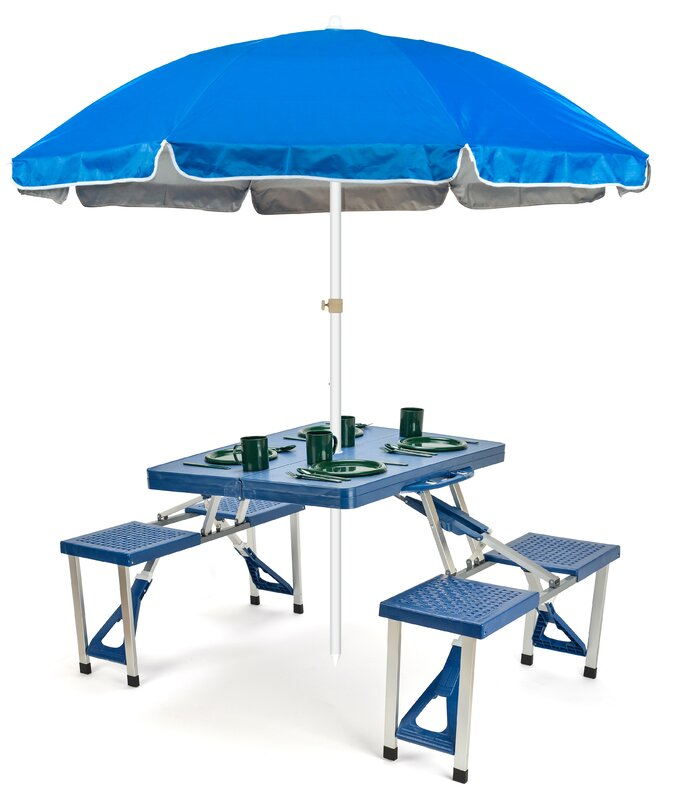 Portable Folding Picnic Table 6.5u0027 Beach Umbrella