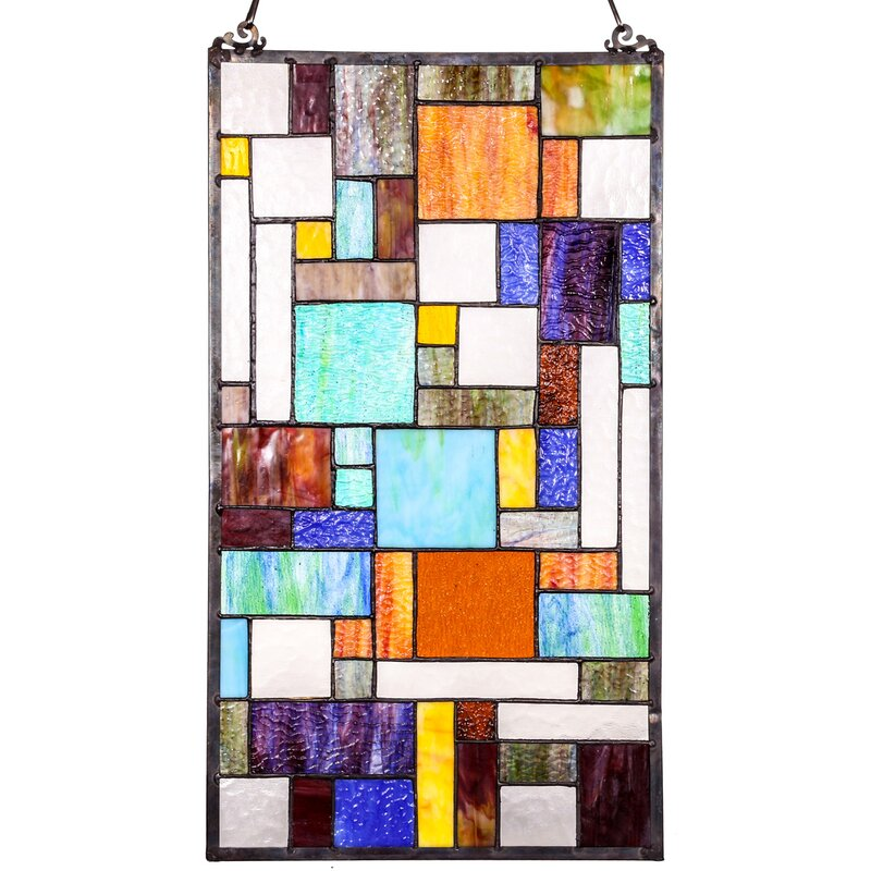 Astoria Grand Mod Collage Tiffany Style Stained Gl Window Panel Reviews Wayfair