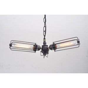 bret cylinder cage 3light mini chandelier