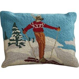 Pallaton Deer Skiing Hook Wool Throw Pillow