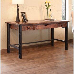 wood desk with iron legs wayfair rh wayfair com metal and wood desk with shelves metal and wood desk with shelves