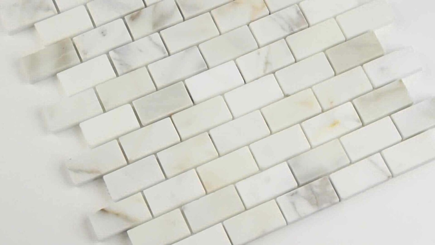 Msi calacatta gold mounted 1 x 2 marble subway tile in white calacatta gold mounted 1 x 2 marble subway tile in white dailygadgetfo Image collections