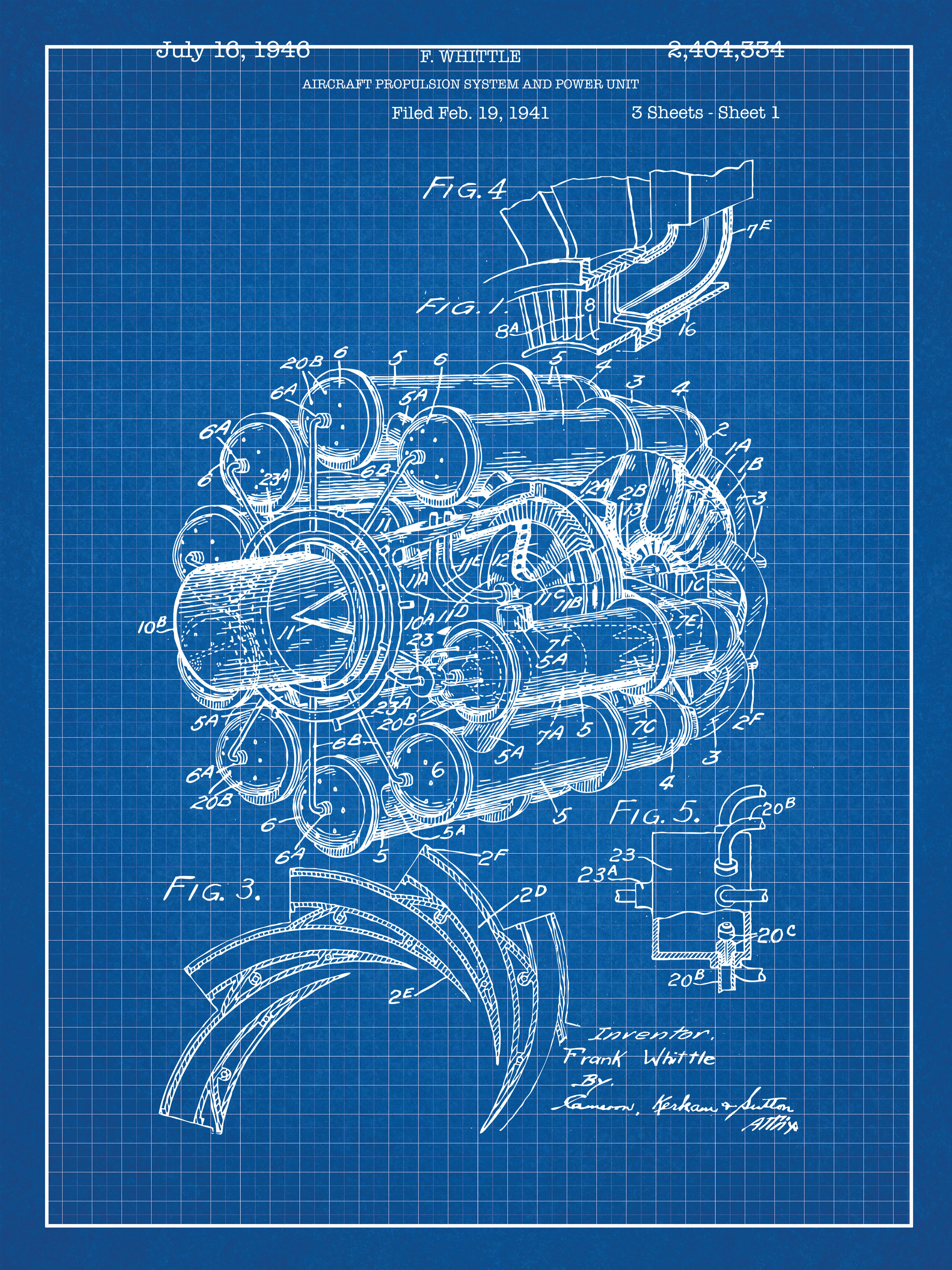 Inked And Screened Airplane Engine Blueprint Graphic Art Wayfair Diagram
