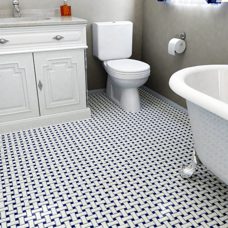 Retro Basket Weave Random Sized Porcelain Mosaic Tile In White And Cobalt
