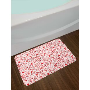 East Urban Home Ambesonne Red Bath Mat By Geometric