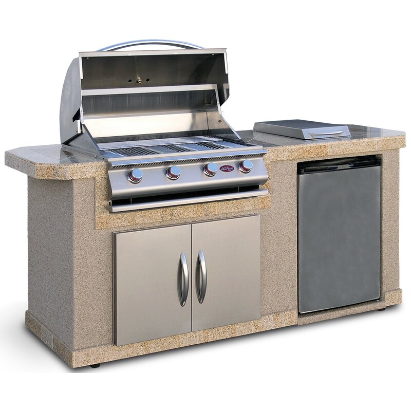 Outdoor Kitchen Islands 4 Burner Built In Propane Gas Grill With Side  Shelves