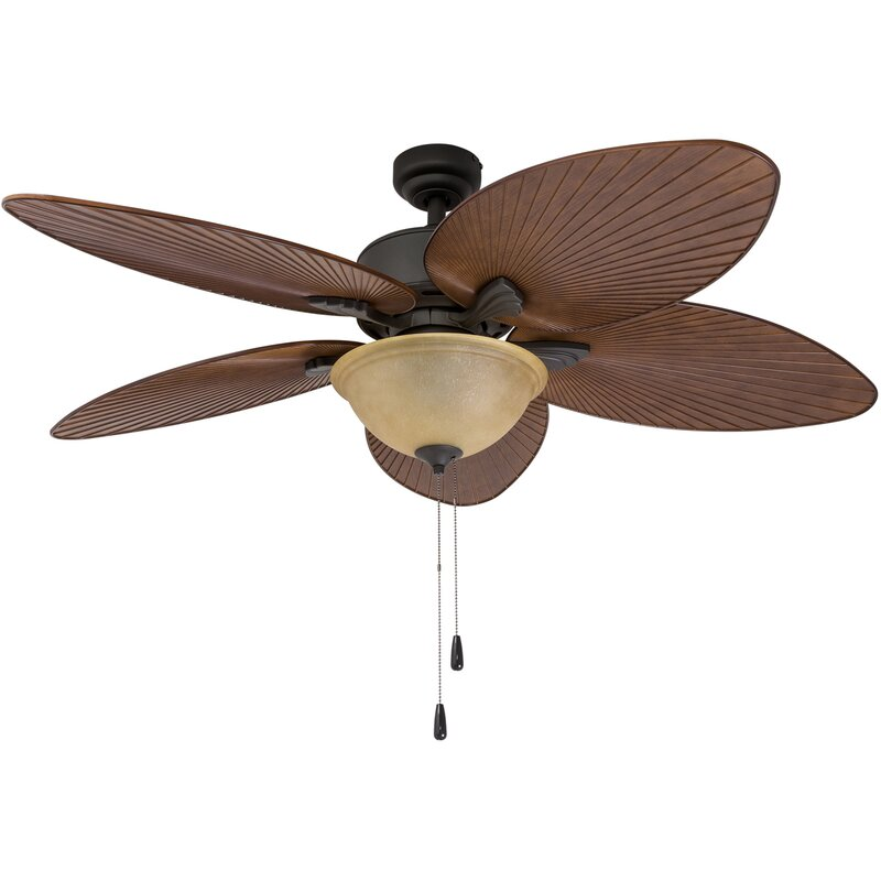 "Tropical Outdoor Ceiling Fan: Bay Isle Home 52"" Cosgrave Palm Tropical 5 Blade Outdoor"