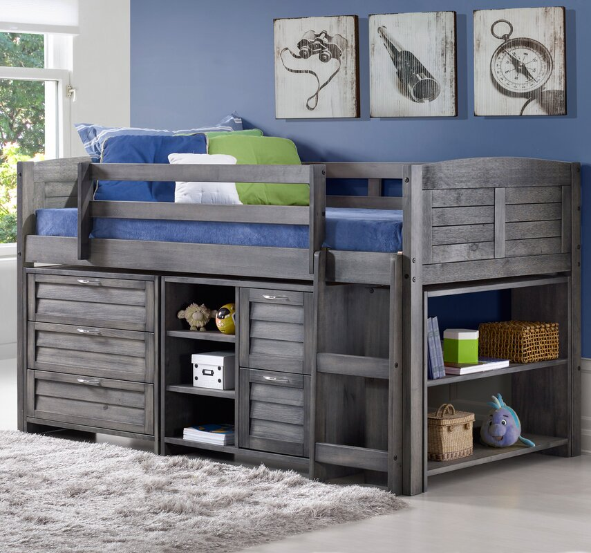 evan twin low loft slat bed with bookcase and chest