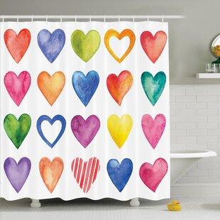 Watercolor Hearts Romance Shower Curtain Set