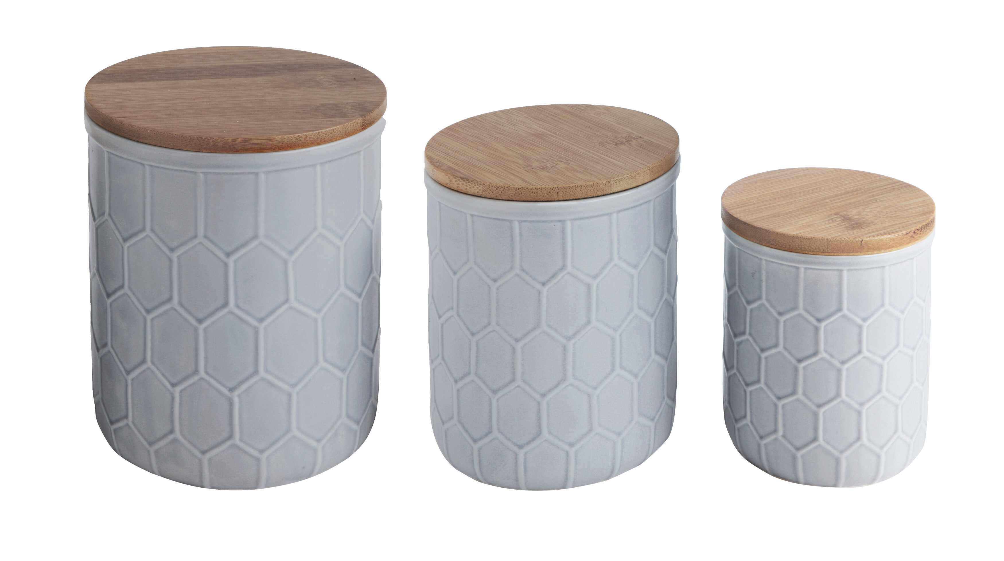Bamboo Lid Stoneware 3 Piece Kitchen Canister Set & Reviews | Joss ...