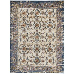 Mcknight Ivory/Blue Area Rug
