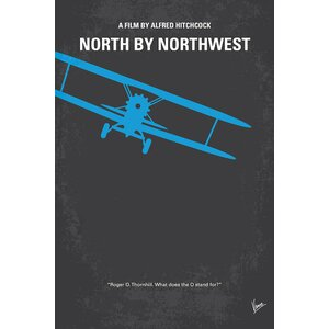 'North by Northwest' Minimal Movie Poster Vintage Advertisement on Wrapped Canvas