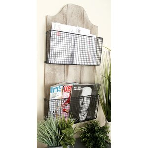 16 x 32 x 3 Wood/Metal Wire Wall Basket