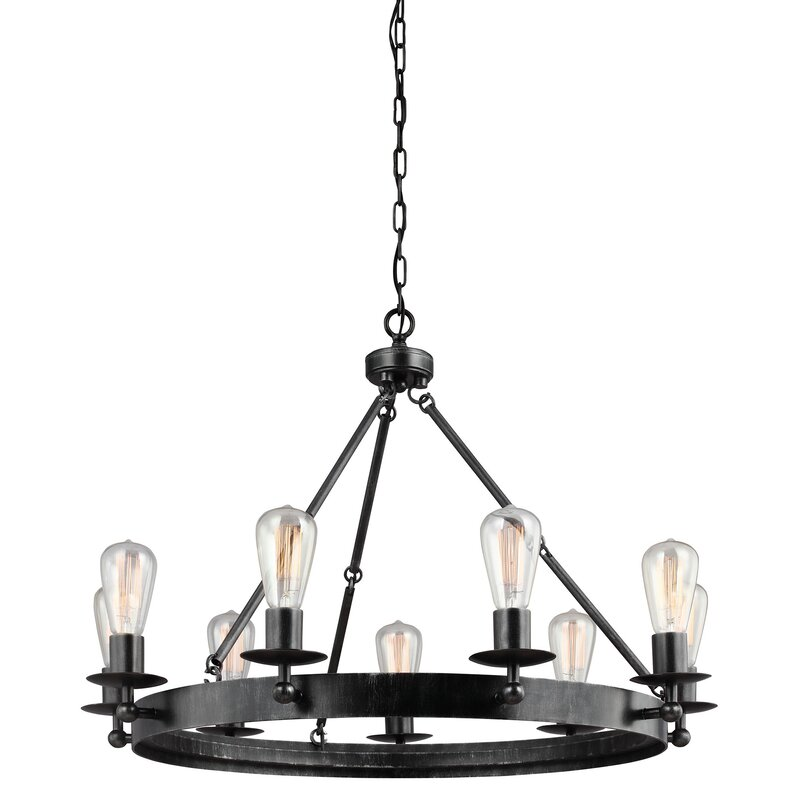Hines 9-Light Wagon Wheel Chandelier & Reviews