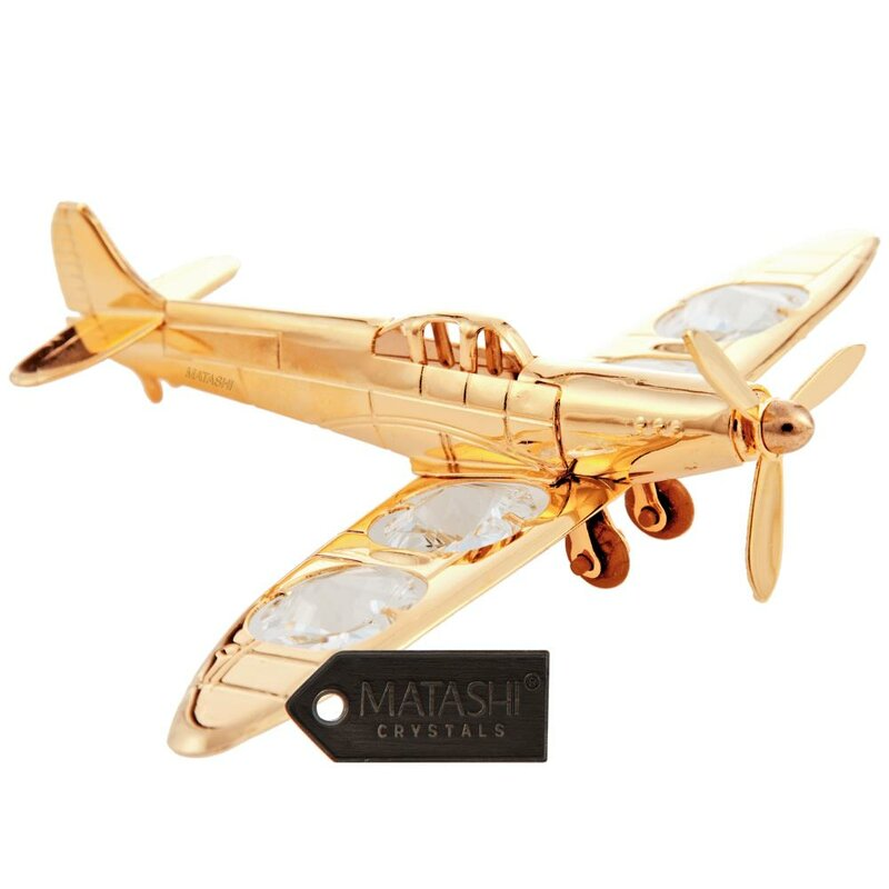 MatashiCrystal 24K Gold Plated Propeller Airplane | Wayfair