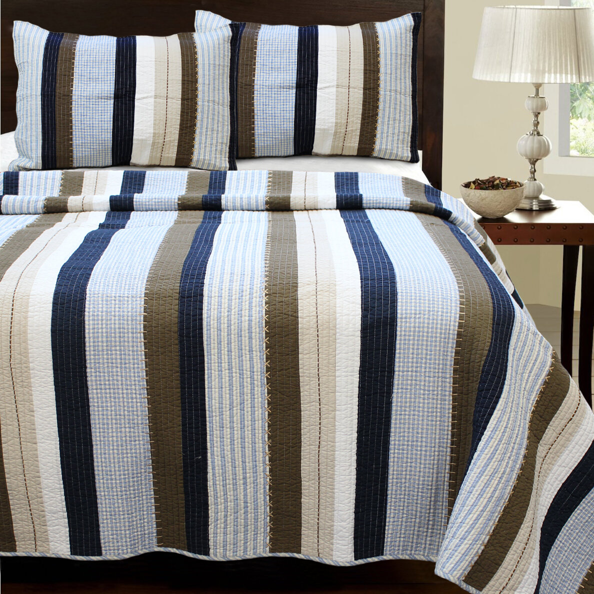 cozy line home fashion nathan striped quilt set reviews wayfair