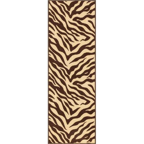 Kings Court Brown Zebra Animal Print Rug