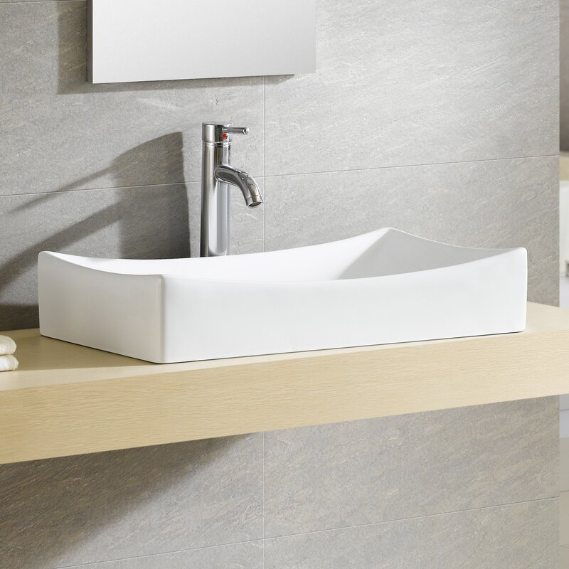 Fine Fixtures Modern Ceramic Rectangular Vessel Bathroom Sink ...
