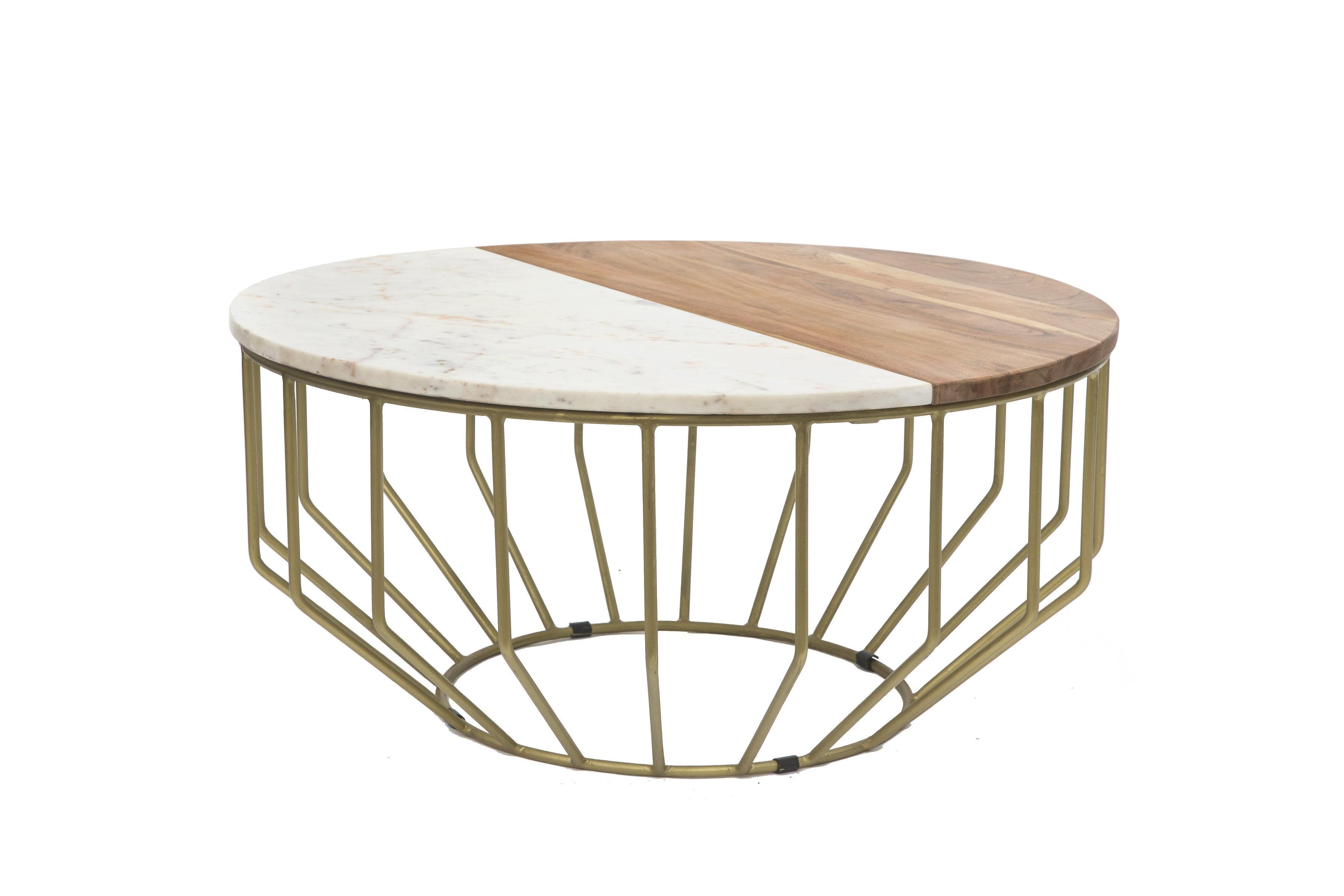 Everly Quinn Singh Woodmarble Round Coffee Table Wayfair