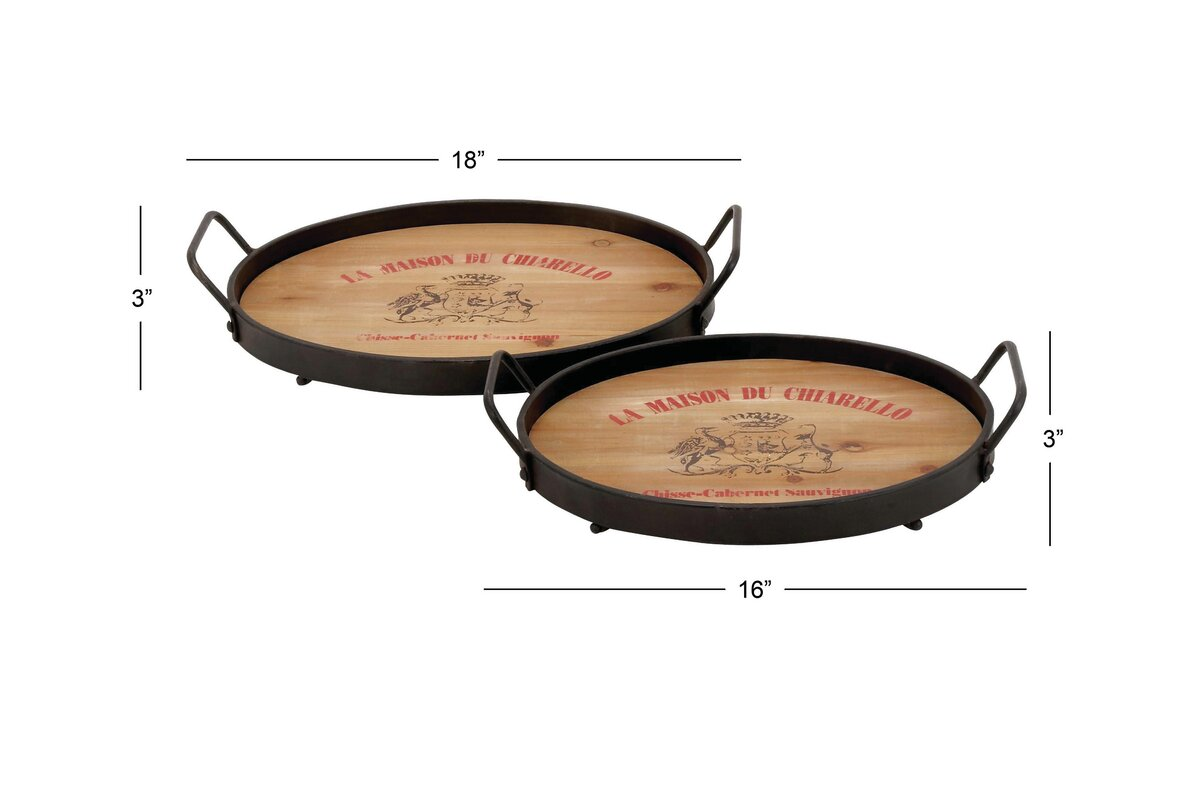 Wood Metal 2 Piece Accent Tray Set