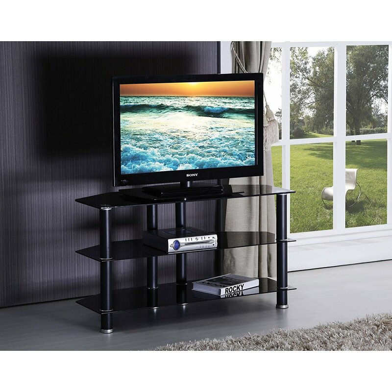 Ebern Designs Keindl Modern Tempered Glass Top Swivel 42 Tv Stand