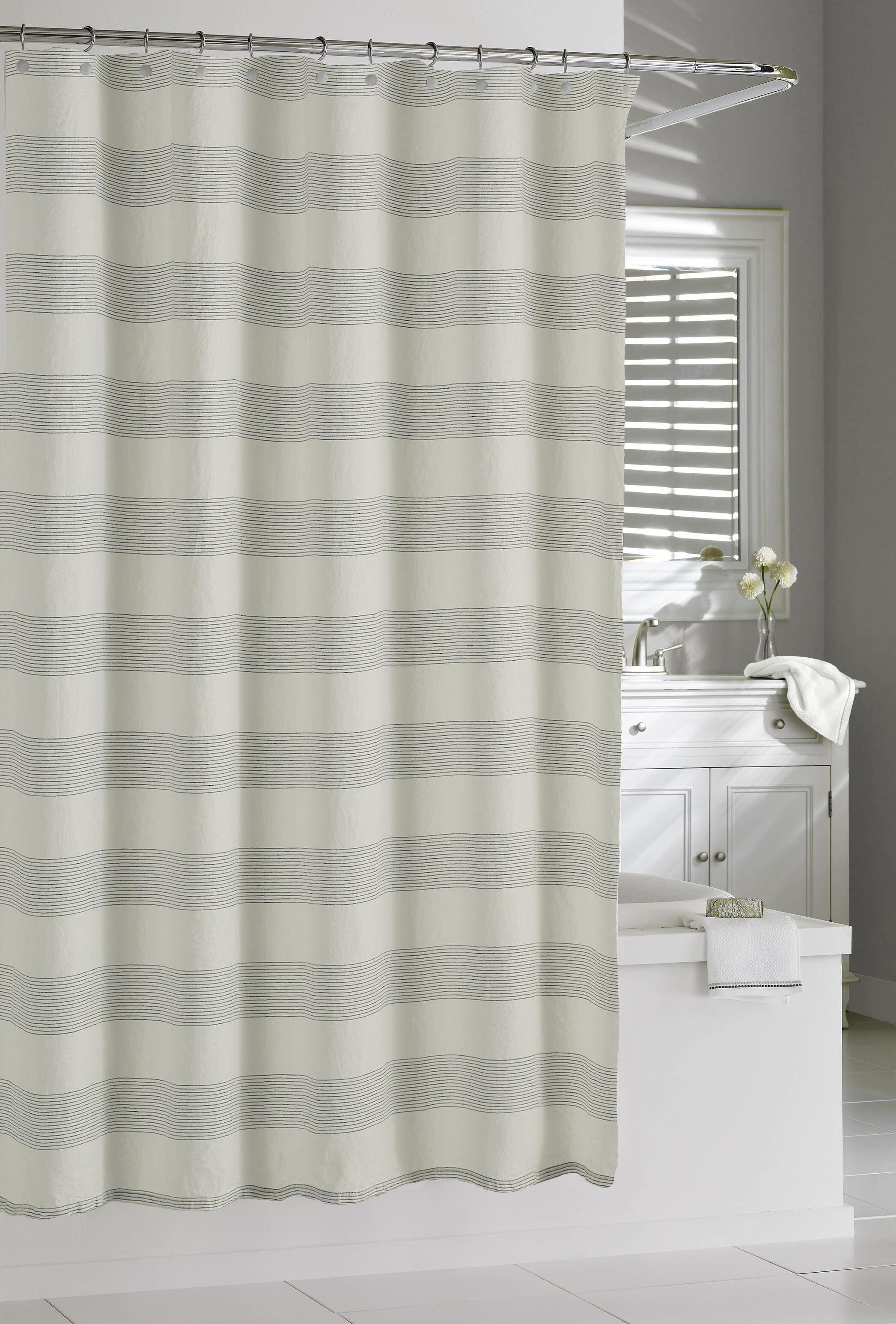 Gracie Oaks Burdella Linen Shower Curtain