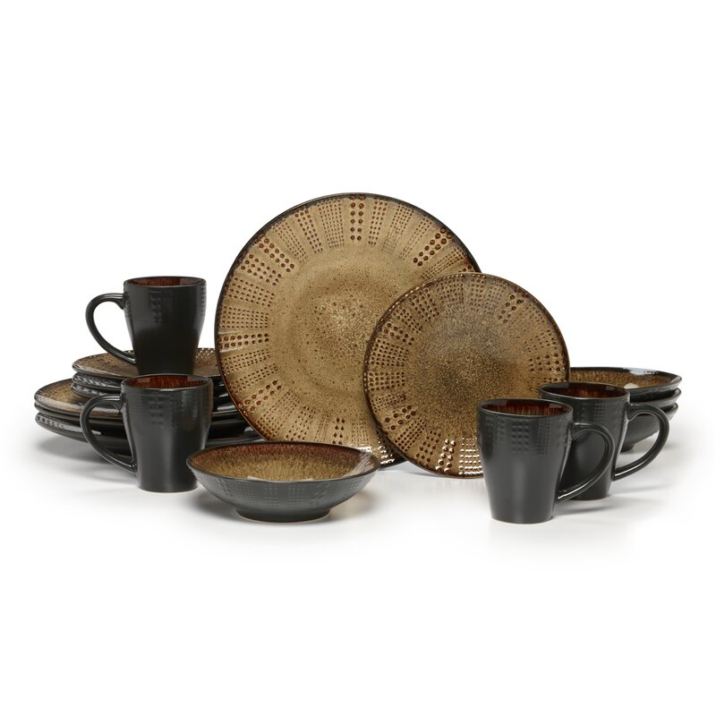 Linden 16 Piece Dinnerware Set Service for 4  sc 1 st  Wayfair : gourmet basics by mikasa dinnerware - pezcame.com