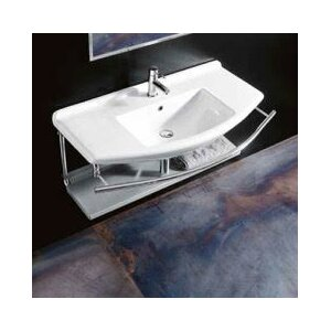 Topazio Ceramic Rectangular Vessel Bathroom Sink with Overflow